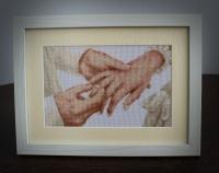 Картина «Навсегда» - ручная работа, вышивка крестиком, размер вышивки без рамы 14х23, с рамой - 25х33,антибликовое стекло, 20 цветов.