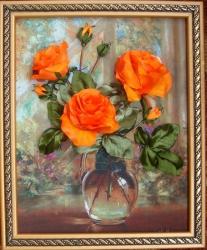 Картина Розы Альберта Уильямса создана атласными лентами размером 5 см на качественном принте. Получаешь огромное удовольствие, вышивая картины этого художника!!!...Размер 20*25