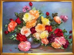 """Картина """"Розы в вазе""""выполнена атласными лентами, может стать прекрасным украшением, создаст уют и романтику в интерьере вашего дома...."""