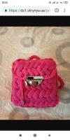 Маленький но очень вместительный рюкзак, вязаный с трикотажной пряжи