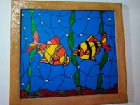 Эта картина выполнена на пластиковом стекле красками. Оно легче чем простое стекло и безопаснее. Картина вставлена в рамку красками в перёд. Фотокамера не может передать красоту изделия, но когда вы повесите картину на стену, ваш взгляд будет всегда прикован к ней. Она будет дарить тёпло и радость вашей семье. Ручная работа. Размер с рамкой 23,3см.х25,5см.х1,4см. Отправка Новой Почтой.