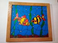 Рыбы картина витраж.