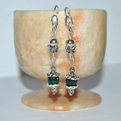 Сережки из натуральных камней - аквамарина и мельхиоровой стали.