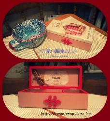 Шкатулка-коробка для чая на З секции, деревянная, с палочками корицы внутри!