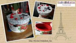 Шкатулка для украшений с красными розочками. Под заказ в любом цвете