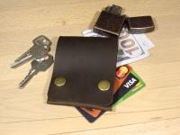 """Шкіряна ключниця з кишенею для кредитних карток Дощ""""BeCool""""#"""