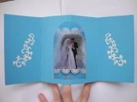 Открытка внутри которой..... еще одна открытка! Размер 15х15 см ( в согнутом положении, в разогнутом 15х30 см) Украшена с внешней стороны стразами. Выполнена с использованием тисненой бумаги.