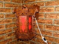 Светильник-бра «китайский фонарь»  ДШВ: 270х200х310 Материал: фанера береза 4мм., ткань.