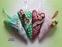 Текстильные сердечки нежный и милый подарок для любимых, красивый декор, украшение интерьера. Ткань хлопок, 15 см
