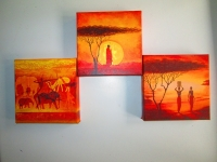 Триптих Африканский закат,интерьерная модульная картина,панн