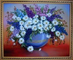 Картина вышита на качественном принте атласными лентами, мулине и бисером. Можна подарить на день рождение, к любому празднику. Этот букетик напомнит нам о лете, ярком солнышке и аромате полевых цветов....