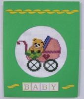 Вышитая открытка ко дню рождения малыша