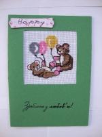 Вышитая открытка с мишками
