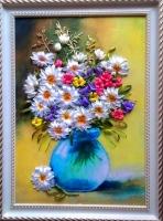 Картина создана атласными лентами, бисером и шёлком на качественном принте. Подарочек - для души и настроения!!!