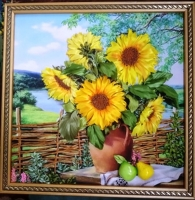Картина вишита атласними стрічками, бісером і шовком на якісному принті.